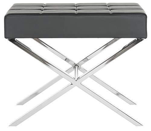 Safavieh EAF2028 Bänke, Metall, Schwarz/Silber, 62 x 46 x 50.29 cm