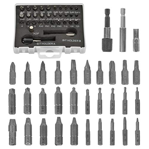 Juego de extractores de tornillos de 33 piezas, juego de removedor de tornillos dañados, juego de removedor de tornillos para tornillos dañados, acero HSS 4341-acero 64-65 HRC dureza