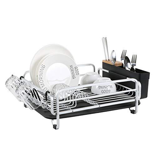 Escurreplatos de aluminio con gran soporte de cubiertos, bandeja extraíble para platos y cubierta de bambú y soporte para taza para cocina