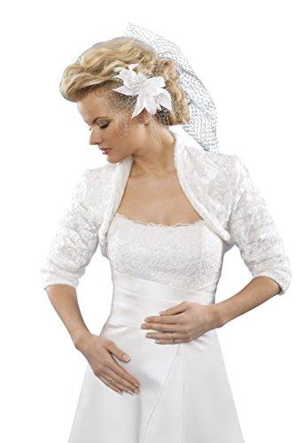 Bolero Jacke aus Samtpelz, Brautjacke Brautkleid - E206 (M, weiß)