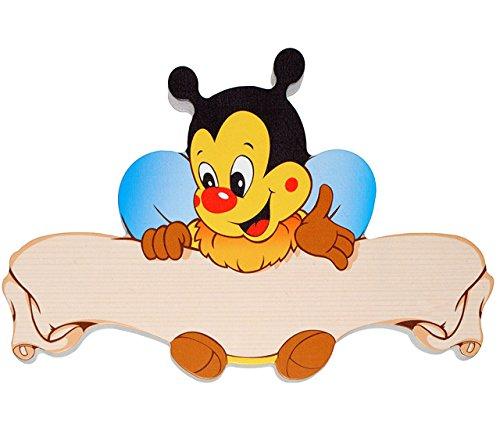 alles-meine.de GmbH Türschild / Namensschild / Wandbild - aus Holz -  Biene  - Schild selbstklebend - für Kinderzimmer / oder Haustier Hundehütte - Tiere für Kinder Tier - Honi..