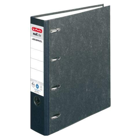 Herlitz Doppelordner maX.File Nature A4 sw 7cm 2xA5 quer Ablage sk Rückenschild (50, Pappe)
