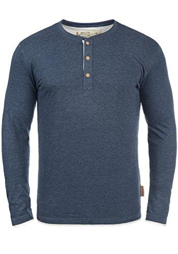 Indicode Gifford Herren Longsleeve Langarmshirt Shirt Mit Grandad-Ausschnitt, Größe:XXL, Farbe:Navy Mix (420)