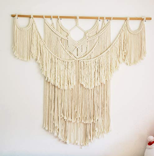 """47.2""""W × 44""""L Macrame Wall Hanging Large, Boho Wall Art, Woven Tapestry, Cream Beige Bohemian Tassel Art, Cotton Rope, Handwoven Wall Décor for Home Living Room, BedRoom Backdrop, With Wood Dowel"""