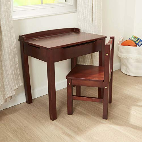 "Melissa & Doug Child's Lift-Top Desk & Chair (Kids Furniture, Espresso, Brown, 2 Pieces, 16.1"" H x 23.6"" W x 23.2"" L, Great Gift for Girls and Boys – Best for 3, 4, 5, 6, 7 and 8 Year Olds)"
