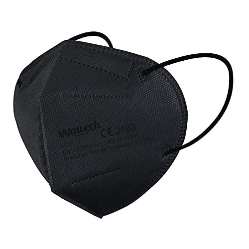Wawech 30 Stück FFP2 Maske schwarz, Gesichtmasken mit hoher Filtration,5-lagige Mund- und Nasenschutzmaske