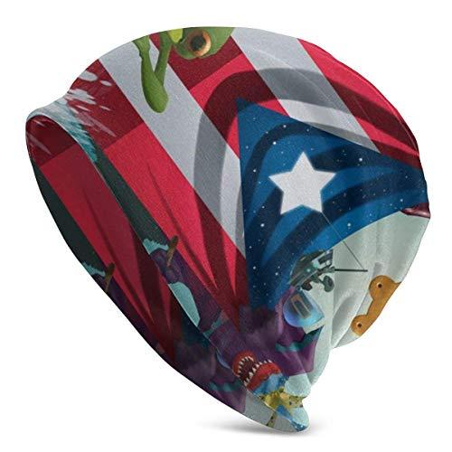 WLWINTER Strickmütze Puerto Rico's Flag Skull Cap Arbeit Slouchy Warm Beanie Mütze für Unisex Schwarz