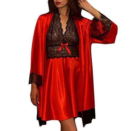Mymyguoe 2 stücke Negligee Frauen Sexy Satin Spitze Nachtwäsche Babydoll Dessous Nachthemd Pyjamas Set Unterwäsche Dessous Sets Kimono Morgenmantel + Nachtkleid