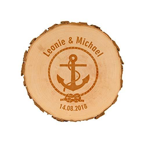 4you Design Baumscheiben zur Hochzeit mit Gravur - personalisierte Holzscheibe - Verschiedene Designs - naturbelassen - Dekoration - Wanddeko (Anker)