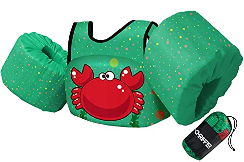 Chriffer Chaleco de natación para niños y niñas de 30 a 50 libras, flotadores con arnés de hombro y alas de brazo para bebés de 2, 3, 4, 5, 6, 7 años de edad, piscina de...