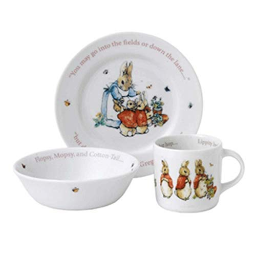 Wedgwood Girl's Peter Rabbit 3-Piece Plate, Bowl and Mug Set, White and Pink