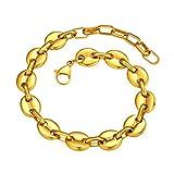 Brazalete Cadenas Anchas de Granos Grandes Acero Inoxidable Oro Amarillo 18K Dorado Pulsera Dudadera 10mm 19cm Largo Cadena Corta