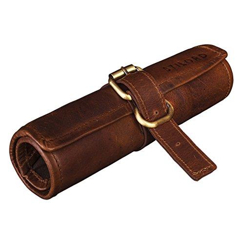 STILORD 'Felix' Estuche o Bolsa Cuero para lápices y bolígrafos Portatodo Escolar Redondo Hombres y Mujeres Cartuchera de Piel auténtica, Color:Cognac marrón Oscuro