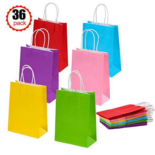 36 Pieces Kraft Paper Bags Party Favor Bags Gift Bags with Handles for Birthday Wedding Halloween Party-6 Color