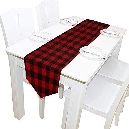 Tafelloper wooncultuur, kerst rood zwart geruit houthakken tafelkleed runner koffie mat