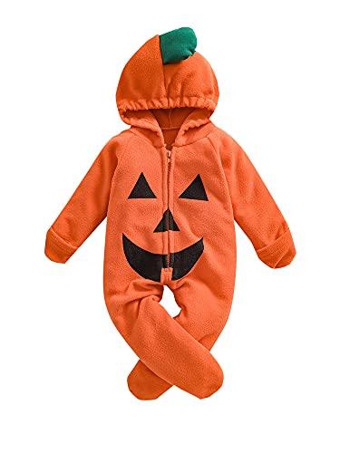 Mameluco de Halloween para bebé y niña, con capucha, con capucha, para Halloween, naranja, 18 meses
