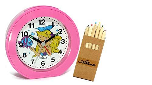 Kinderwecker ohne Ticken Mädchen Meerjungfrau Rosa Pink Quarz Analog mit Buntstiften - 1998/17 BS