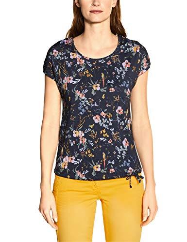 Cecil Damen 314909 TOS Flower Smock Shoulder T-Shirt, deep Blue, Medium