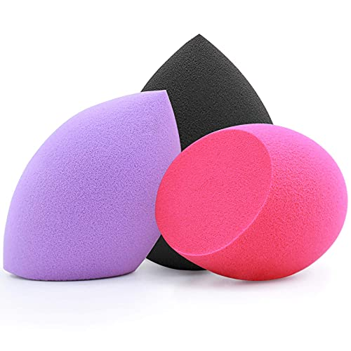 Makeup Sponges, Foonbe Foundation Blending Beauty Sponge, Dry & Wet Use for Powder Cream or Liquid Application (3 Pcs, Multi-colored)