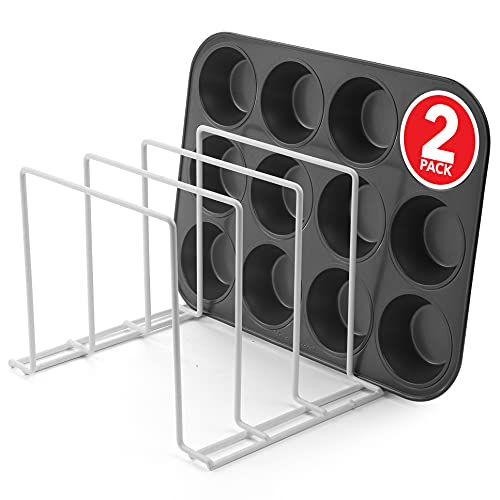 Stock Your Home Large Bakeware Organizer (2 Pack) - Rust-Free Durable Coated Steel Lid Organizer - Kitchen Cookware Rack for Dinnerware, Bakeware, Cookware, Cutting Boards, Pot, Pan Lids in White