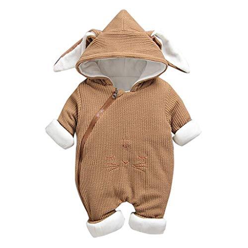 Livoral Baby-Winterjacke mit neugeborenem Kaninchenohr-Overall mit Reißverschluss und Kapuze(Kaffee,12-18 Monate)