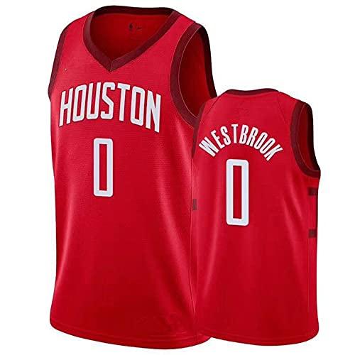 Camiseta sin Mangas NBA Hombre NBA Rockets No. 0 Jersey Camiseta Deportiva Baloncesto Rojo Manga Corta, XL