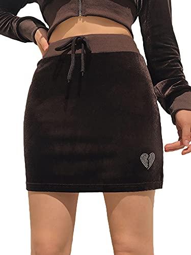 CharmShow 2 piezas de ropa casual para mujer con cremallera y diseño de corazón con diamantes de imitación de manga larga y falda de cintura alta con cordón, Falda café, Medium