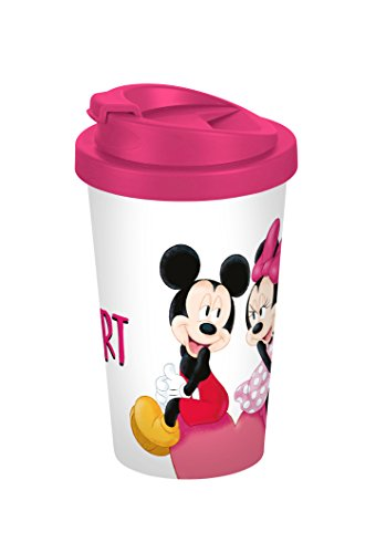 Disney Mickey Mouse Mickey My Heart 400ml Coffee to go Becher, Kunststoff, Weiß-bunt, 9 x 9 x 16,5 cm