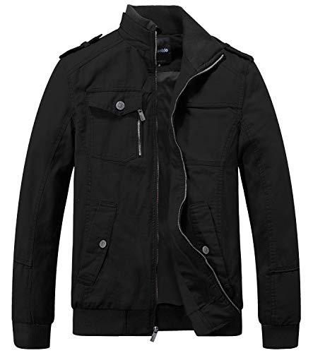 Wantdo Men's Military Cotton Casual Stand Collar Windbreaker Jacket Medium Black