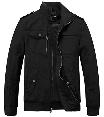 Wantdo Men's Military Cotton Casual Stand Collar Windbreaker Jacket Large Black