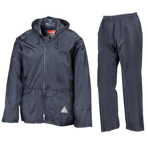 Result - Traje Impermeable /Conjunto Impermeable / chubasquero 2 piezas (conjunto chaqueta y pantalón) Grueso (Mediana (M)/Azul marino)