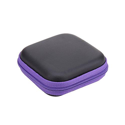 prettygood7 Square EVA Case Headset Bluetooth Oortelefoon Kabel Opbergdoos Nieuwe Mini voor Hard Drive behuizingen, Printers, Modems, Camera's en andere USB-randapparatuur Paars