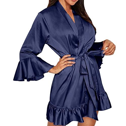 Lencería sexy de encaje para mujer, ropa interior de dormir, pijama, azul marino, 3XL