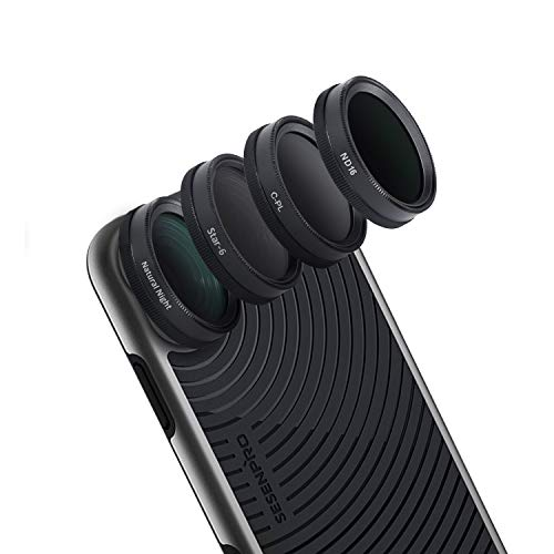 SESENPRO 4 in 1 Cell Phone Lens Filter Kit for iPhone 7/8/7Plus/8Plus/X/XR/XS Max (CPL,ND16,Star-6,Natural Night)