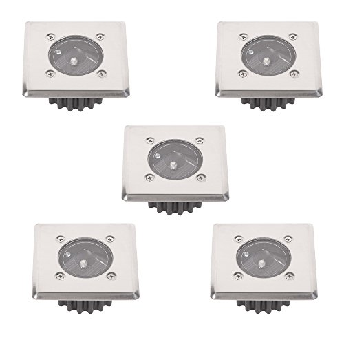 LED-Solar Bodeneinbauleuchte 5er Set | Solarleuchten eckig 8,5x8,5cm trittfest Edelstahlfront | 5x Einbauleuchten Solarlampen | Boden Einbaustrahler IP44