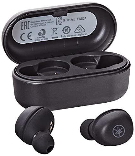 Yamaha TW-E3A Cuffie In-Ear True Wireless Bluetooth, Auricolari con Microfono Integrato, 6h di Autonomia con 1 sola Ricarica, Impermeabili IPX5, Custodia di Ricarica, Nero