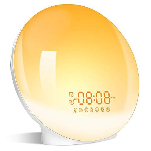 Lichtwecker Wake Up Licht Wecker mit zwei Alarmen Snooze -【Sonnenaufgang Sonnenuntergang Simulation】FM Radio &7 Natürlichen Klängen / 7 Farben & 20 Helligkeit für Geschenk