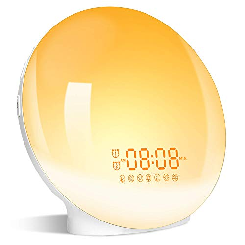 Wake Up Light LED Despertador, 2020 Luz Despertador Simulación de Amanecer y Atardece, 2 Alarmas,...