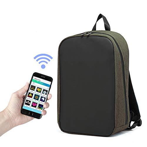 LLC-POWER Werbung Rucksack Mit LED-Dynamischer Anzeige, LED-Mobile Werbung Für Wirtschaftsförderung, APP WiFi-Steuerung, Für 15,6-Zoll-Laptops Für Studenten Teen Reisen,Grün