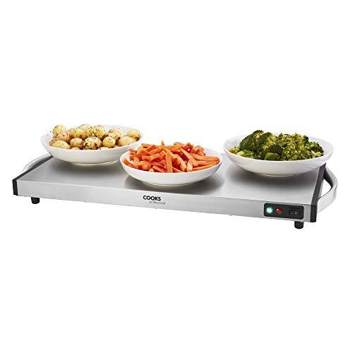 Cooks Professional Cordless Buffet Server, Food Warming Tray, Hot Plate 1300W Auto Shut Off, Cool Handles, L69 x W32 x H6cm
