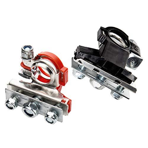 ZHITING 2 Stück Batterieklemmen Auto Positiver und Negativer Steckverbinder Battery Terminal mit Kabelschuhen für Boot Van