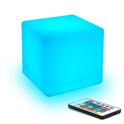 10cm Luz nocturna para niños, Lámpara de mesa de Noche en forma de Cubo LED con mando a distancia, brillo ajustable y colores, resistente al agua