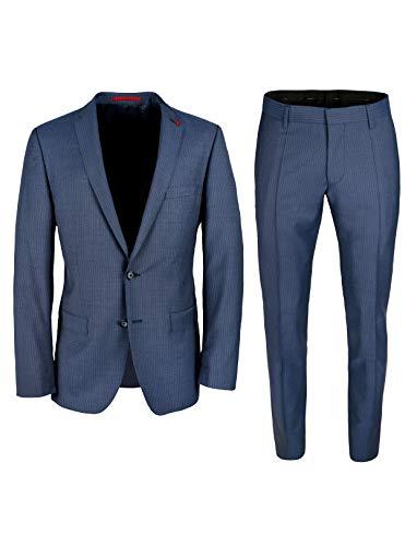 Roy Robson Herren Anzug Slim Fit 2-teilig aus Schurwolle Super'100 Business (Dunkelblau, 52)