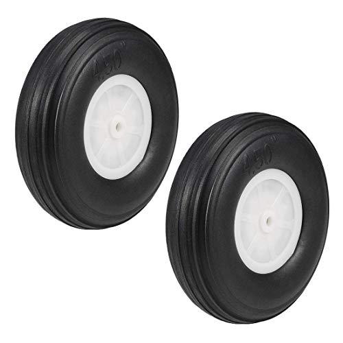 DealMux Juegos de llantas y ruedas para avión RC, llanta de esponja de PU con cubo de plástico, 4.5 pulgadas 2 piezas