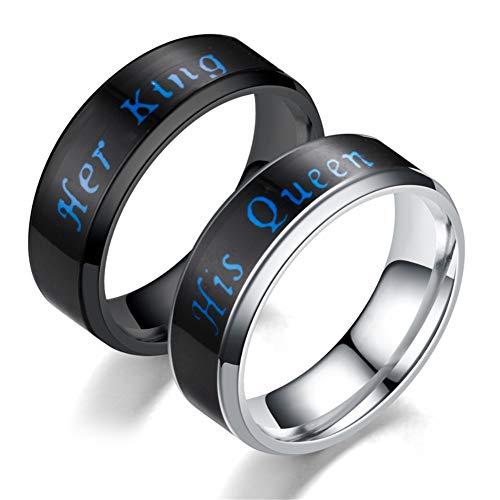 Anillo de acero inoxidable para hombre con indicador de temperatura de emoción, anillo de cambio de humor, anillos de compromiso y boda (tamaño 11)