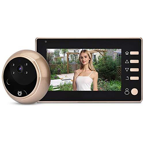 Videoportero, Monitor de cámara con Mirilla para Puerta HD de 4,3 Pulgadas y 1MP Kit de Timbre de Video Grabación de visión Nocturna, Sensor PIR, IP55 a Prueba de Agua