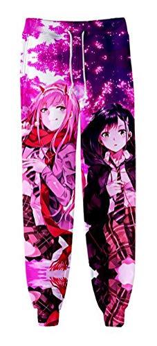 WANHONGYUE Anime Darling In The Franxx 3D Gedruckt Sweatpants Jogginghose Cosplay Kostüm Sporthosen Trousers Trainingsanzug 1173/15 XL