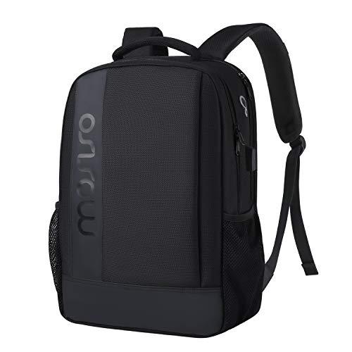 Mosiso reis-laptoprugzak voor 15,6-17,3 inch laptop, waterafstotende anti-diefstal tas met bagageriem & USB-oplaadpoort, Business College School, boekentas, daypack voor dames heren, zwart
