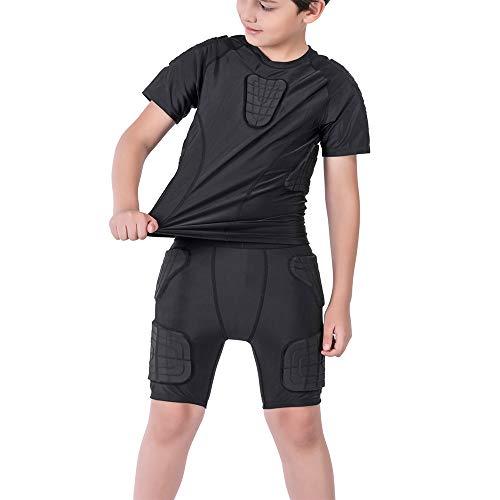 DGYAO Jungen Sports Schutz gepolsterte Strumpfhose T-Shirt Shorts Schulter Rippe Brust Hüfte Protector Anzug für Fußball Rugby Basketball Skifahren Snowboard Skaten (T-Shirt+Shorts, YS)