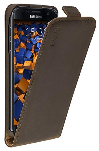 mumbi Echt Leder Flip Case kompatibel mit Samsung Galaxy S7 Hülle Leder Tasche Case Wallet, braun